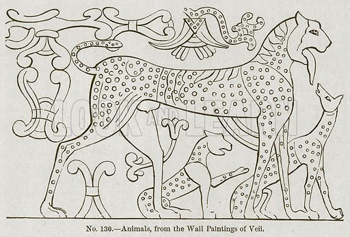 Animals, from the Wall Paintings of Veii. Illustration for History of Ancient Pottery by Samuel Birch (John Murray, 1873).