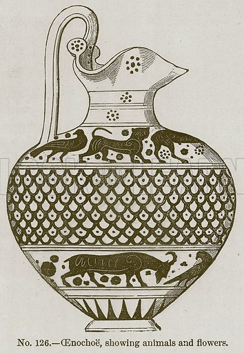 Oenochoe, showing Animals and Flowers. Illustration for History of Ancient Pottery by Samuel Birch (John Murray, 1873).