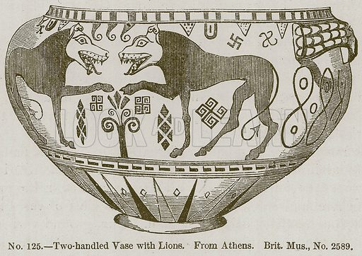 Two-Handled Vase with Lions. Illustration for History of Ancient Pottery by Samuel Birch (John Murray, 1873).