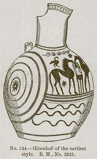 Oenochoe of the Earliest Style. Illustration for History of Ancient Pottery by Samuel Birch (John Murray, 1873).