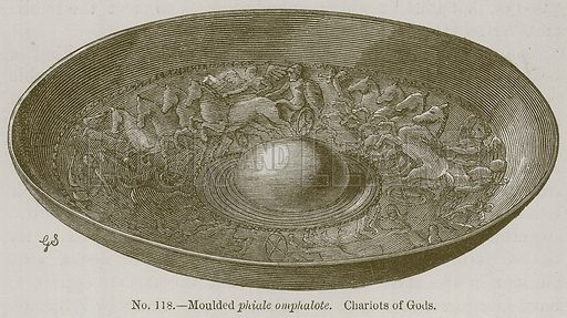 Moulded Phiale Omphalote. Chariots of Gods. Illustration for History of Ancient Pottery by Samuel Birch (John Murray, 1873).