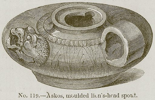 Askos, Moulded Lion's-Head Spout. Illustration for History of Ancient Pottery by Samuel Birch (John Murray, 1873).