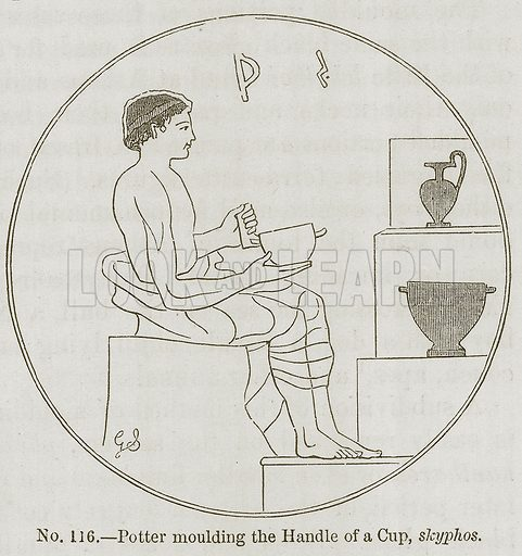 Potter Moulding the Handle of a Cup, Skyphos. Illustration for History of Ancient Pottery by Samuel Birch (John Murray, 1873).