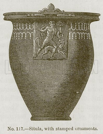 Situla, with Stamped Ornaments. Illustration for History of Ancient Pottery by Samuel Birch (John Murray, 1873).