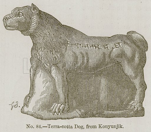 Terra-Cotta Dog, from Konyunjik. Illustration for History of Ancient Pottery by Samuel Birch (John Murray, 1873).