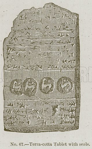 Terra-Cotta Tablet with Seals. Illustration for History of Ancient Pottery by Samuel Birch (John Murray, 1873).