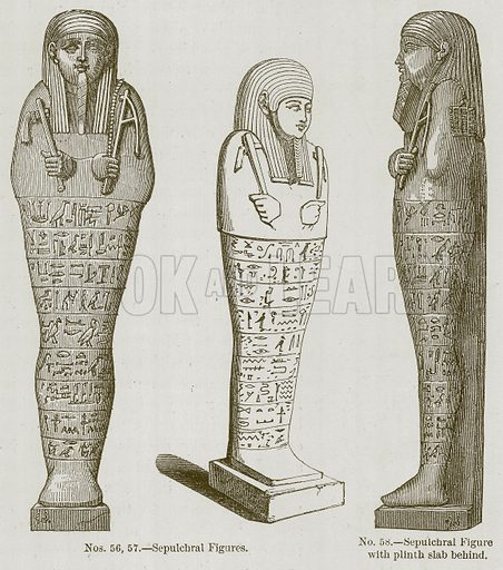 Sepulchral Figures. Sepulchral Figure with Plinth Slab behind. Illustration for History of Ancient Pottery by Samuel Birch (John Murray, 1873).