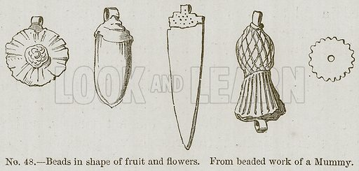 Beads in Shape of Fruit and Flowers. Illustration for History of Ancient Pottery by Samuel Birch (John Murray, 1873).