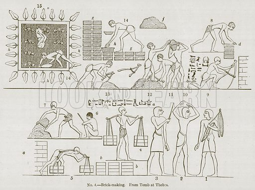 Brick-Making. Illustration for History of Ancient Pottery by Samuel Birch (John Murray, 1873).