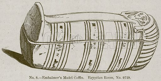 Embalmer's Model Coffin. Egyptian Room, No. 9729. Illustration for History of Ancient Pottery by Samuel Birch (John Murray, 1873).
