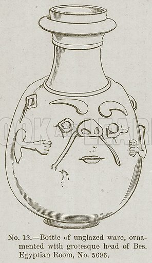 Bottle of Unglazed Ware, Ornamented with Grotesque Head of Bes. Egyptian Room, No. 5696. Illustration for History of Ancient Pottery by Samuel Birch (John Murray, 1873).
