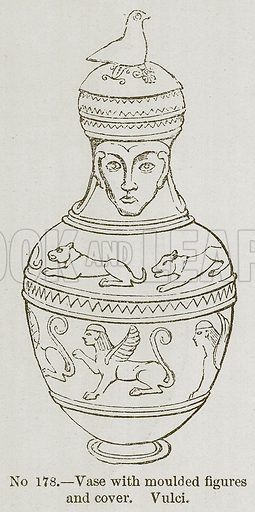 Vase with Moulded Figures and Cover. Vulci. Illustration for History of Ancient Pottery by Samuel Birch (John Murray, 1873).