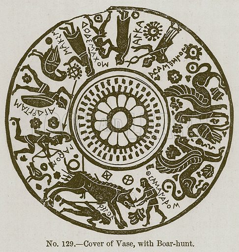 Cover of Vase, with Boar-Hunt. Illustration for History of Ancient Pottery by Samuel Birch (John Murray, 1873).