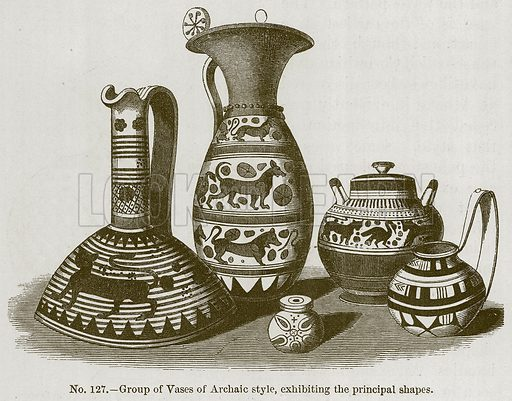 Group of Vases of Archaic Style, Exhibiting the Principal Shapes. Illustration for History of Ancient Pottery by Samuel Birch (John Murray, 1873).
