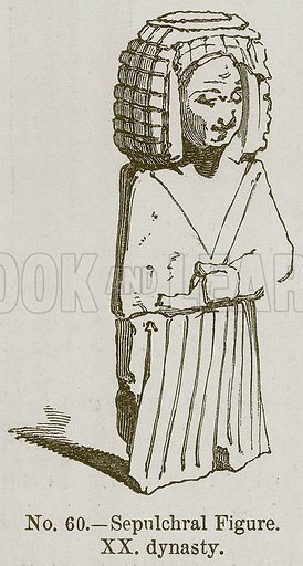 Sepulchral Figure. XX Dynasty. Illustration for History of Ancient Pottery by Samuel Birch (John Murray, 1873).
