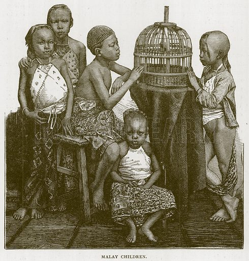 Malay Children. Illustration for Children of All Nations (Cassell, c 1880).