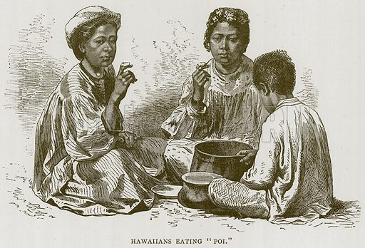 "Hawaiians Eating ""Poi."" Illustration for Children of All Nations (Cassell, c 1880)."