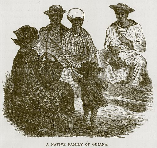 A Native Family of Guiana. Illustration for Children of All Nations (Cassell, c 1880).