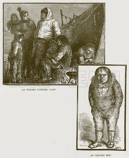 An Eskimo Summer Camp. An Eskimo Boy. Illustration for Children of All Nations (Cassell, c 1880).