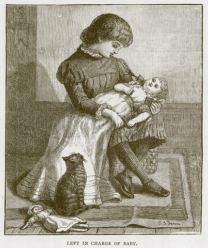 Left in Charge of Baby. Illustration for Children of All Nations (Cassell, c 1880).