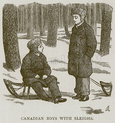 Canadian Boys with Sleighs. Illustration for Children of All Nations (Cassell, c 1880).