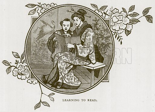 Learning to Read. Illustration for Children of All Nations (Cassell, c 1880).