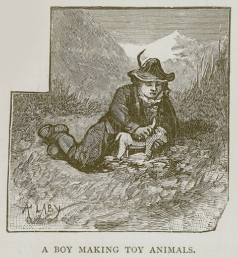 A Boy Making Toy Animals. Illustration for Children of All Nations (Cassell, c 1880).