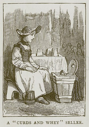"""A """"Curds and Whey"""" Seller. Illustration for Children of All Nations (Cassell, c 1880)."""