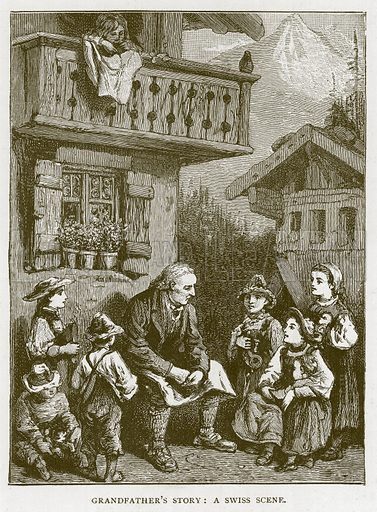 Grandfather's Story: A Swiss Scene. Illustration for Children of All Nations (Cassell, c 1880).