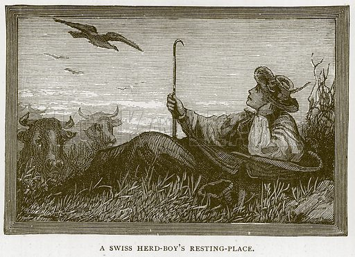 A Swiss Herd-Boy's Resting-Place. Illustration for Children of All Nations (Cassell, c 1880).