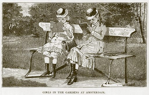 Girls in the Gardens at Amsterdam. Illustration for Children of All Nations (Cassell, c 1880).