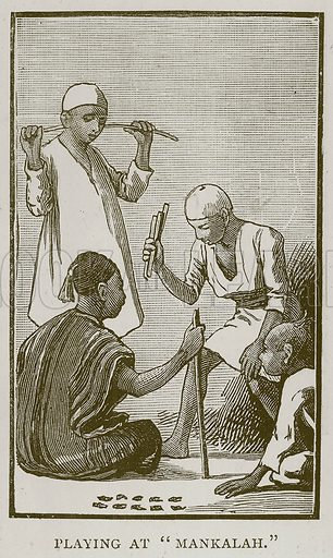"""Playing at """"Mankalah."""" Illustration for Children of All Nations (Cassell, c 1880)."""