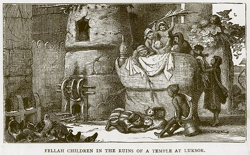 Fellah Children in the Ruins of a Temple at Luksor. Illustration for Children of All Nations (Cassell, c 1880).