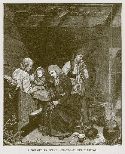 A Norwegian Scene: Grandfathers's Blessing. Illustration for Children of All Nations (Cassell, c 1880).