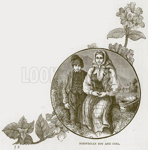 Norwegian Boy and Girl. Illustration for Children of All Nations (Cassell, c 1880).