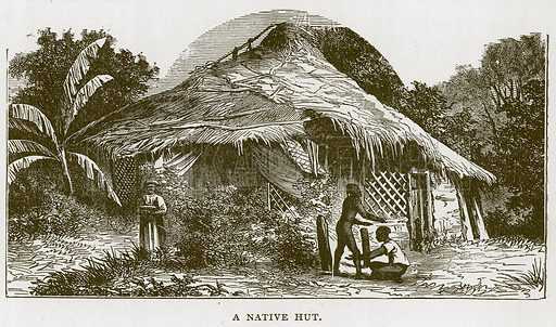 A Native Hut. Illustration for Children of All Nations (Cassell, c 1880).