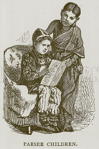 Parsee Children. Illustration for Children of All Nations (Cassell, c 1880).