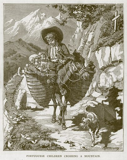 Portuguese Children Crossing a Mountain. Illustration for Children of All Nations (Cassell, c 1880).