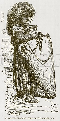 A Little Peasant Girl with Water-Jar. Illustration for Children of All Nations (Cassell, c 1880).