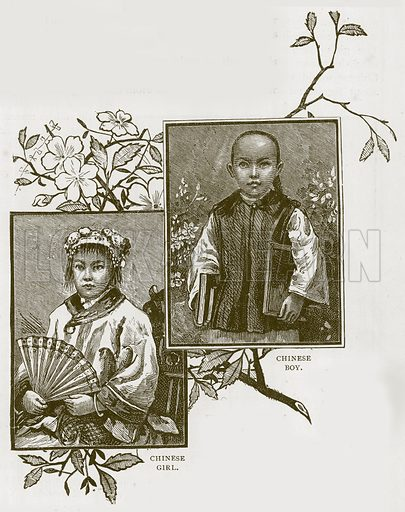 Chinese Boy. Chinese Girl. Illustration for Children of All Nations (Cassell, c 1880).