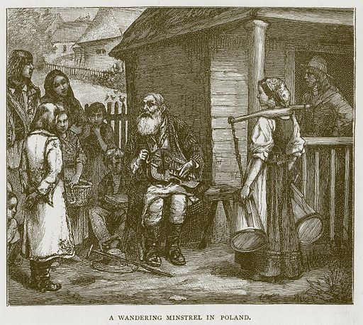 A Wandering Minstrel in Poland. Illustration for Children of All Nations (Cassell, c 1880).