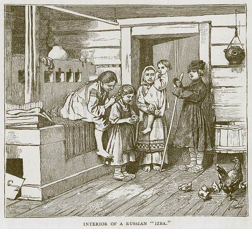 """Interior of a Russian """"Izba."""" Illustration for Children of All Nations (Cassell, c 1880)."""