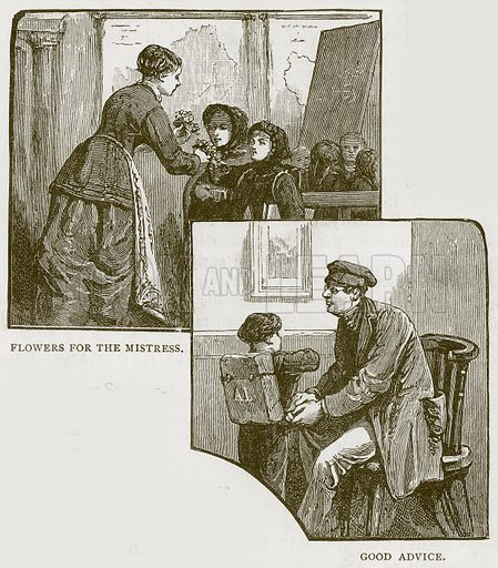 Flowers for the Mistress. Good Advice. Illustration for Children of All Nations (Cassell, c 1880).