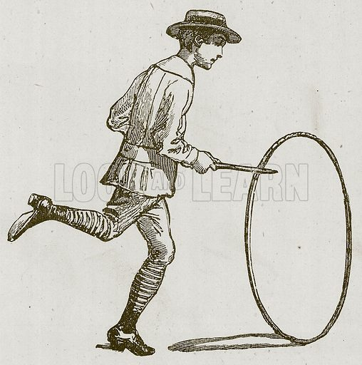 Boy with hoop.  Illustration for Children of All Nations (Cassell, c 1880).