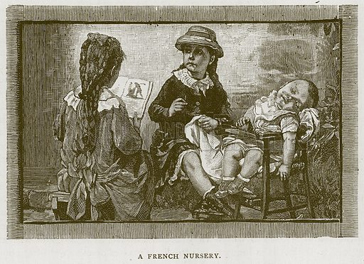A French Nursery. Illustration for Children of All Nations (Cassell, c 1880).