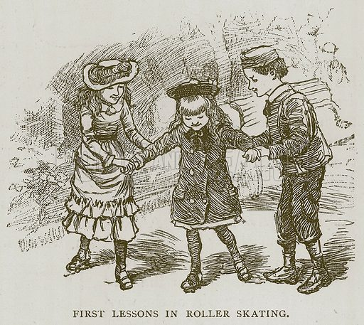 First Lessons in Roller Skating. Illustration for Children of All Nations (Cassell, c 1880).
