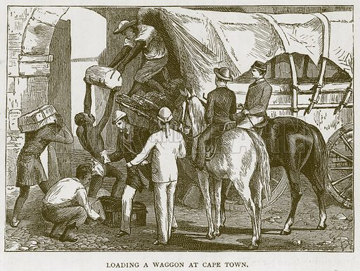 Loading a Waggon at Cape Town. Illustration for Children of All Nations (Cassell, c 1880).