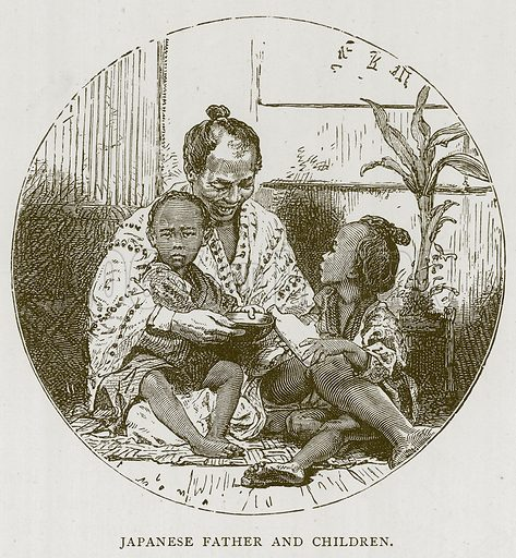 Japanese Father and Children. Illustration for Children of All Nations (Cassell, c 1880).