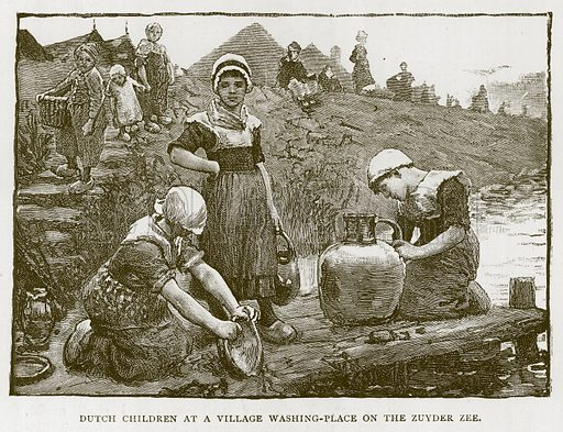 Dutch Children at a Village Washing-Place on the Zuyder Zee. Illustration for Children of All Nations (Cassell, c 1880).