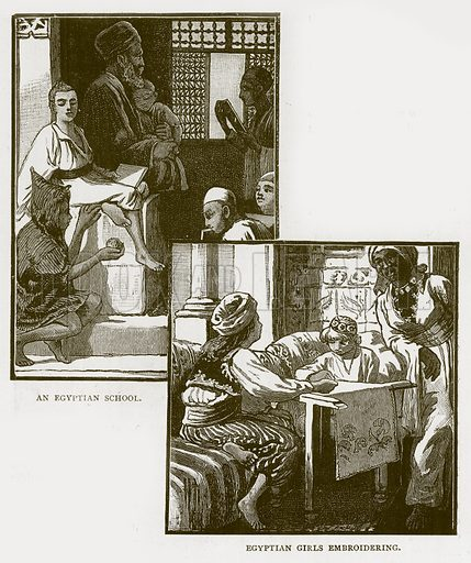 An Egyptian School. Egyptian Girls Embroidering. Illustration for Children of All Nations (Cassell, c 1880).